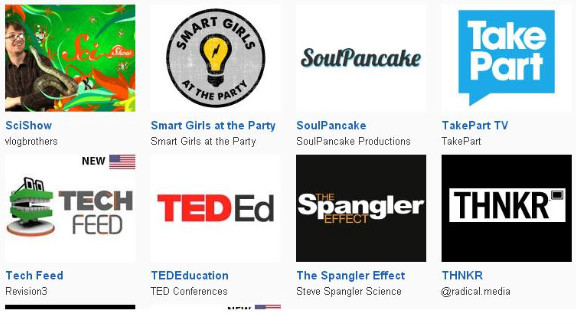 Technology and science feeds like SciShow, TED-Ed and Revision3