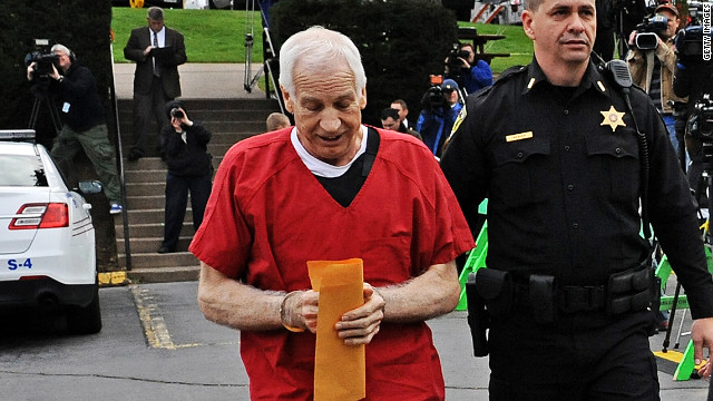 Former Penn State assistant football coach Jerry Sandusky was sentenced Tuesday to at least 30 years in prison.