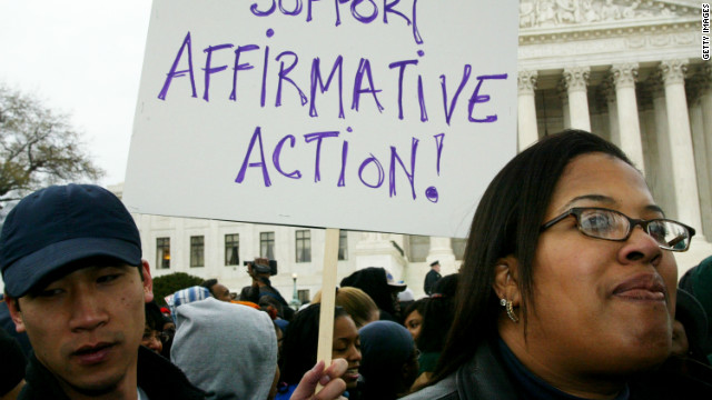 Supporters of affirmative action rally outside the Supreme Court in 2003 when justices heard the Grutter v. Bollinger case.