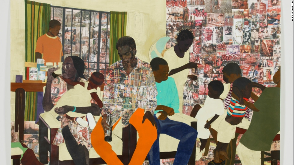 """This was a scene of a birthday party at my neighbours' house,"" said Akunyili. ""I enjoyed putting this image together and thinking of the musicality of the arms, legs and heads as they moved across the page."" She added: ""I got my MFA at Yale in New Haven and it took a few weeks of being in New Haven before I realized that it shared the same name with the town where I grew up. It wasn't immediately evident to me because we pronounce New Haven, Enugu very differently."""