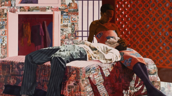 """The title is from a Nigerian song that was very popular when I was growing up,"" said Akunyili. ""Images of the record cover are transferred into the piece."