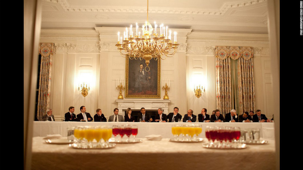 Obama meets with the Democratic Blue Dog Coalition in the State Dining Room on February 10, 2009.