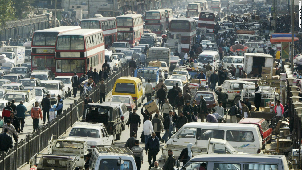 Cars choke traffic-clogged Baghdad streets, which are pinched every few miles by military checkpoints.
