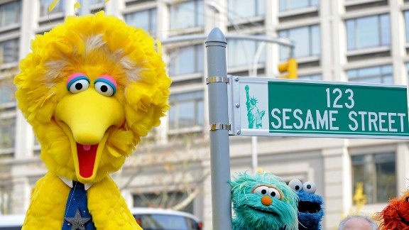 Big Bird (L) and other Sesame Street puppet charactors on November 9, 2009 in New York.