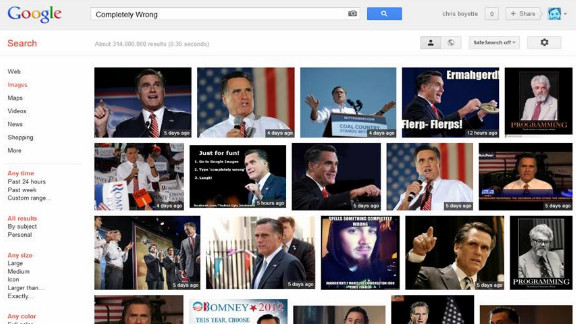 """A Google Image search for """"completely wrong"""" produces almost a full page of Mitt Romney photos."""