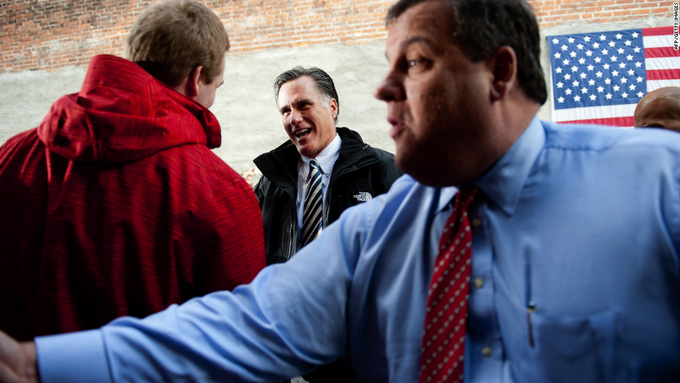 Romney and New Jersey Gov. Chris Christie talk with supporters at Buns Bakery and Restaurant in Delaware, Ohio, on Wednesday, October 10. Romney is campaigning in Ohio with less than a month to go before the general election.