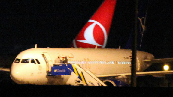 A Syrian passenger plane is seen after it was forced to land at Ankara airport on October 10, 2012.