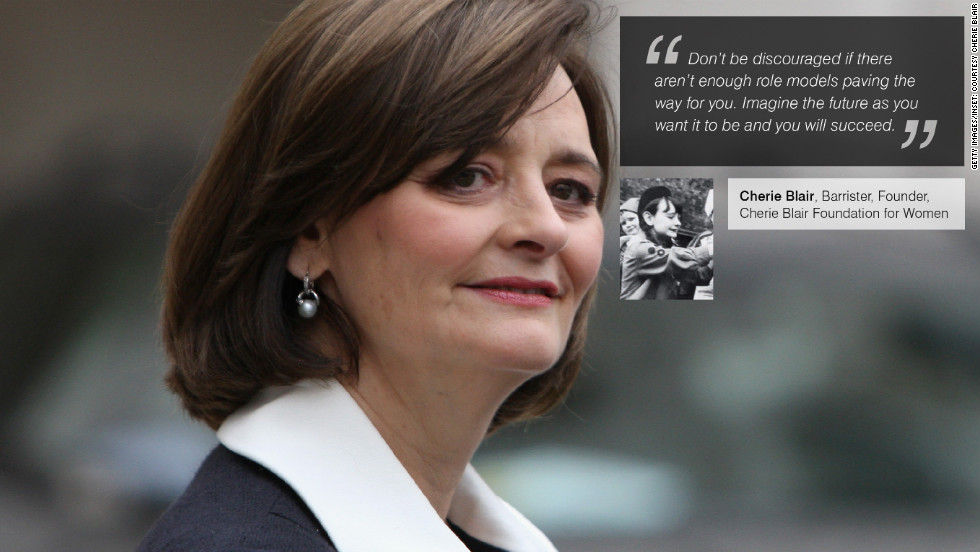 "<a href=""https://twitter.com/CherieBlairFndn"" target=""_blank""><strong>Cherie Blair</strong></a> is a British barrister specializing in public law, human rights, employment and European Community law, arbitration and mediation. She is also the founder of the Cherie Blair Foundation for Women and is married to former British Prime Minister, Tony Blair. Inset: Blair, aged 14, as a girl guide."