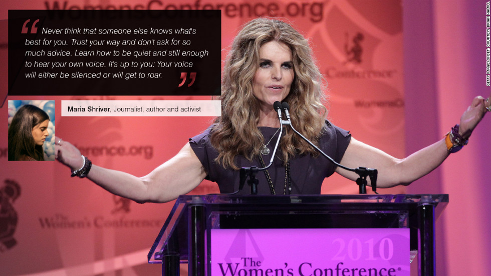 "<a href=""https://en.twitter.com/mariashriver"" target=""_blank""><strong>Maria Shriver</strong></a> is an American journalist, author and activist. She describes her mission as ""to inform, inspire and ignite people to impact their world as architects of change."""