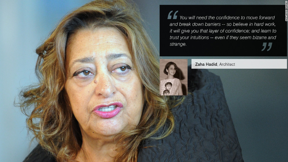 "Iraqi-born<a href=""/2012/08/01/business/leading-women-zaha-hadid/index.html"" target=""_blank""><strong> Zaha Hadid</strong></a> is a celebrated architect and the first woman to win architecture's Pritzker Prize. Recently, Hadid designed the <a href=""/2012/07/10/world/europe/london-2012-olympics-environment/index.html"" target=""_blank""><strong>London Olympics Aquatics Centre</strong></a>."