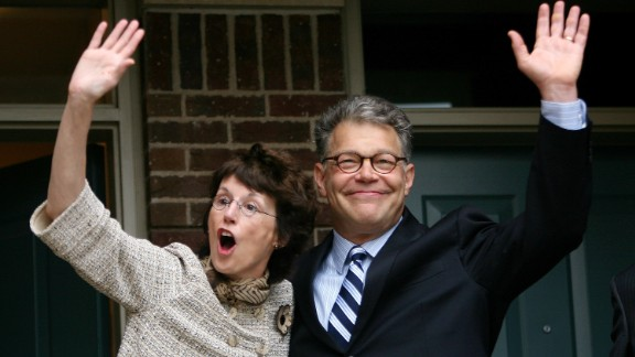 Al Franken took a U.S. Senate seat for Minnesota from incumbent Norm Coleman in 2008 after two recounts. Coleman led Franken by 206 votes on the first count, Franken led by 225 in the mandated recount, and after Coleman contested the recount, Franken led by 312.  Pictured, Franken and his wife, Franny, wave after Coleman conceded the election in June 2009.
