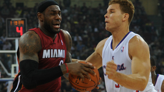 LeBron James (left) in action in Beijing for the Miami Heat against the Los Angeles Clippers.