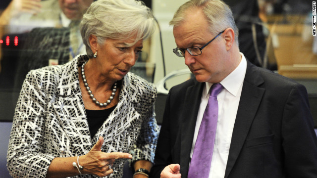 International Monetary Fund Managing Director Christine Lagarde and EU Commissioner Olli Rehn before an Eurozone Council meeting in June.