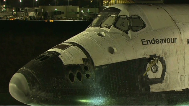 Shuttle Endeavour on parade