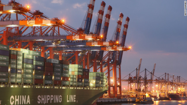 China Shipping Line ship is loaded at the main container port in Hamburg, Germany, August 2007.