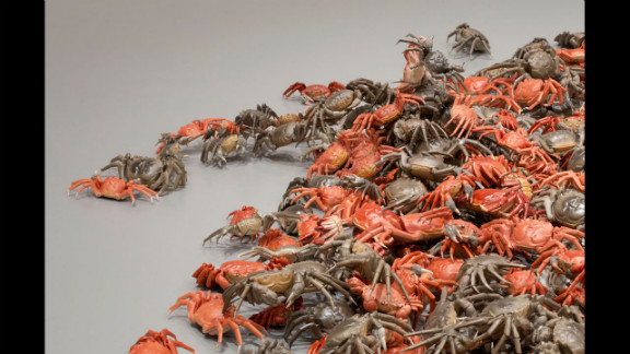 """""""He Xie"""" (detail, 2010) includes more than 3,000 porcelain river crabs. The Chinese word for """"river crab"""" is a homophone for the word for """"harmonious"""" as used in the Communist slogan. """"He Xie"""" is slang for online censorship, according to the museum."""