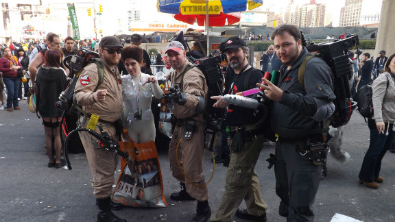 Who ya gonna call? No group of heroes fits in better on the streets of  New York City than the Ghostbusters, from the 1984 film of the same name (and shot in New York). Ghostbusters are a popular costume choice, but it's rare to find the evil Gozer the Gozerian with them.