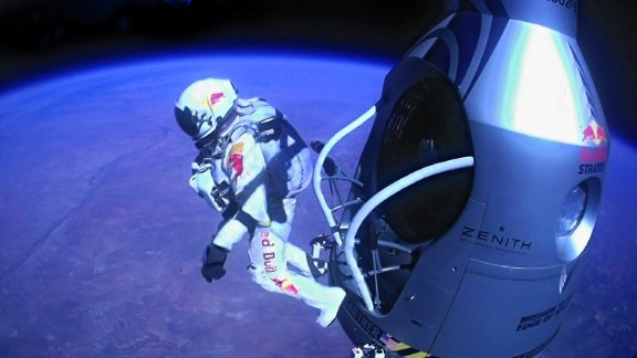 Baumgartner jumps out of the capsule.