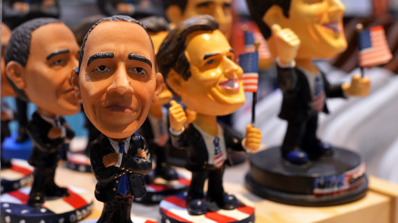 Dolls depicting Obama and Mitt Romney are on display at a gift shop at Baltimore/Washington International Thurgood Marshall Airport in Maryland on Sunday.