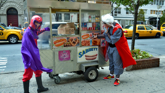 "It's not every day you see Magneto, sworn enemy of the ""X-Men,"" taking a break for a New York hot dog."