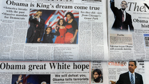 The front pages of Pakistan's leading newspapers showed the country's belief that Obama's election victory meant America was changing for the better.