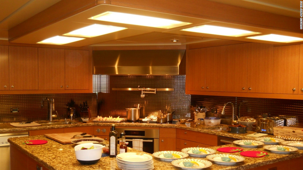 Wealthy owners often go to the extent of installing specialist equipment to suit their tastes, such as dim sum steamers or pasta boilers. Pictured is the galley aboard 53m superyacht Silver Shalis.