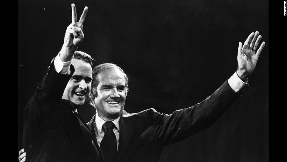 Democratic presidential nominee Sen. George McGovern, right, chose Sen. Thomas Eagleton, left, as his running mate in 1972. But when it was revealed that Eagleton had been hospitalized for depression where he underwent electroshock therapy, the scandal was enough to force him off the ticket. He was replaced by a Kennedy in-law and former director of the Peace Corps, Sargent Shriver. McGovern lost in a landslide to Republican incumbent Richard Nixon. <br />