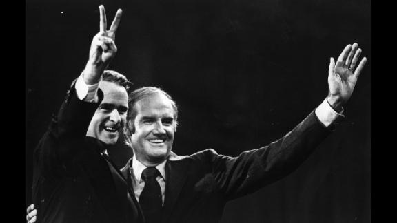 Democratic presidential nominee Sen. George McGovern, right, chose Sen. Thomas Eagleton, left, as his running mate in 1972. But when it was revealed that Eagleton had been hospitalized for depression where he underwent electroshock therapy, the scandal was enough to force him off the ticket. He was replaced by a Kennedy in-law and former director of the Peace Corps, Sargent Shriver. McGovern lost in a landslide to Republican incumbent Richard Nixon.