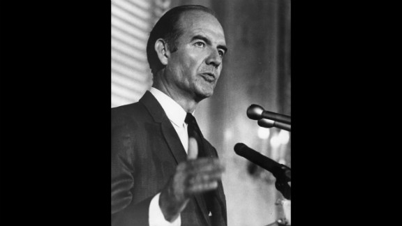 Sen. George McGovern campaigns for the Democratic presidential nomination in August 1968. Vice President Hubert Humphrey beat McGovern for the party