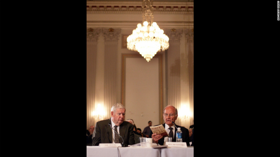 Rep. John Murtha of Pennsylvania, left, talks with McGovern while both testify before the Congressional Progressive Caucus on the McGovern-Polk Plan for U.S. Military Disengagement from Iraq in January 2007.
