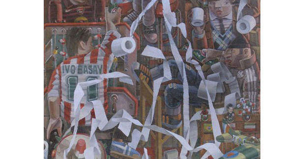 """The British artist is perhaps best known for his paintings of English football scenes, including """"Bar Kick,"""" a surrealist look at sporting revelry in a pub."""