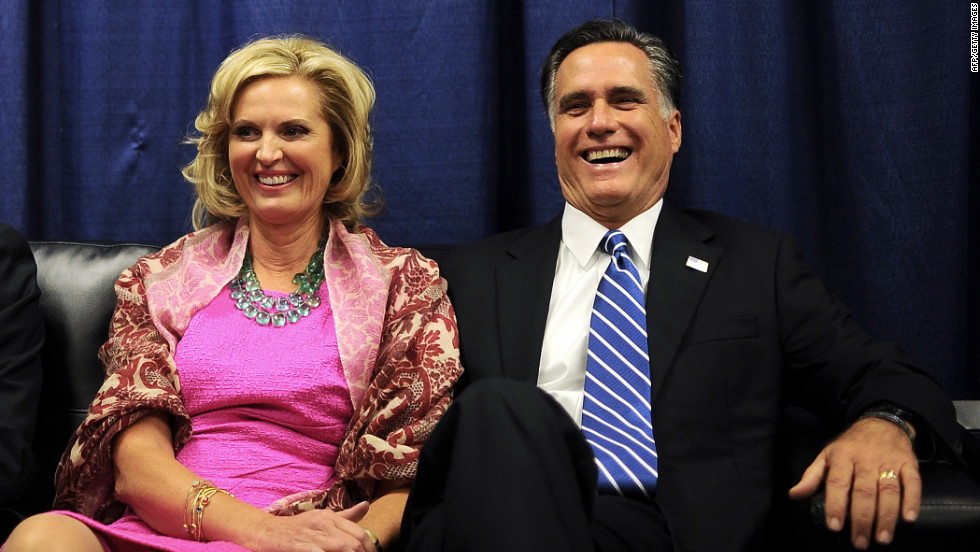 Republican presidential candidate Mitt Romney and his wife Ann await the start of the second presidential debate in a holding room.