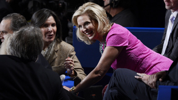 Ann Romney, wife of Republican presidential candidate Mitt Romney, speaks with members of the audience before the start of the second presidential debate at Hofstra University in Hempstead, New York, on Tuesday, October 16.