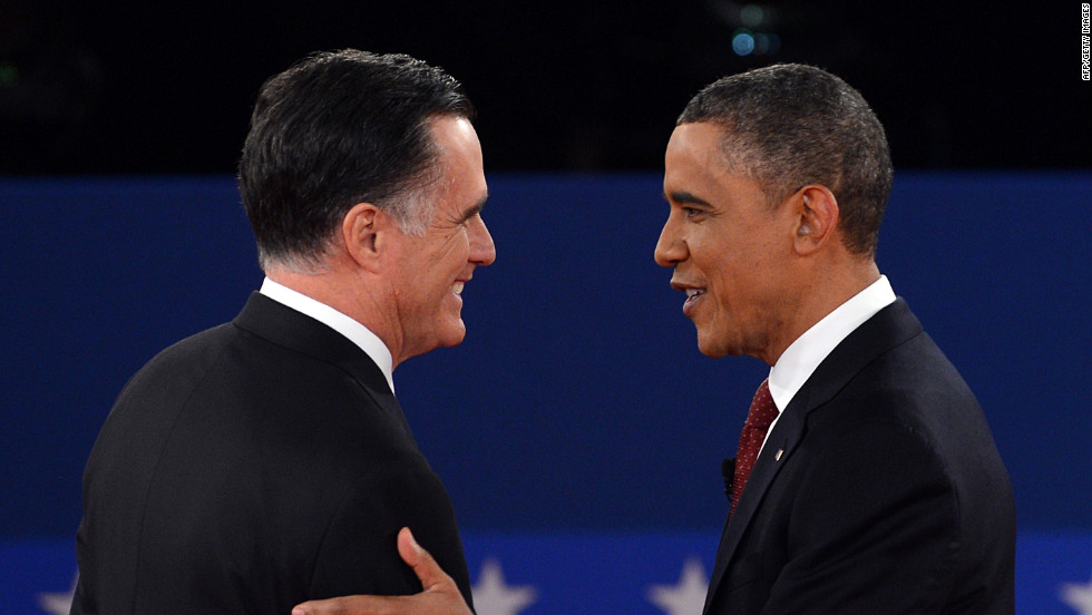U.S. President Barack Obama and Republican presidential nominee Mitt Romney shake hands.6.
