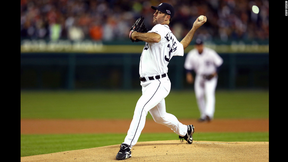 Justin Verlander of the Detroit Tigers throws a pitch during Game 3.