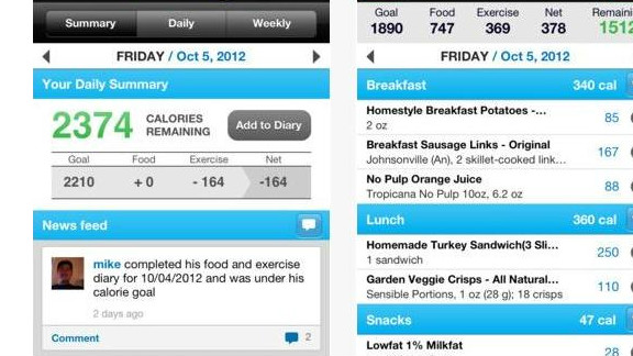 Calorie Counter & Diet Tracker: (free, myfitnesspal.com) MyFitnessPal has a database with more than 2 million foods, and touts its fast and easy exercise and diet entry, allowing users to keep track of calorie burning and calorie intake on the go. (iPhone, iPod Touch, iPad, Android, BlackBerry, Windows)