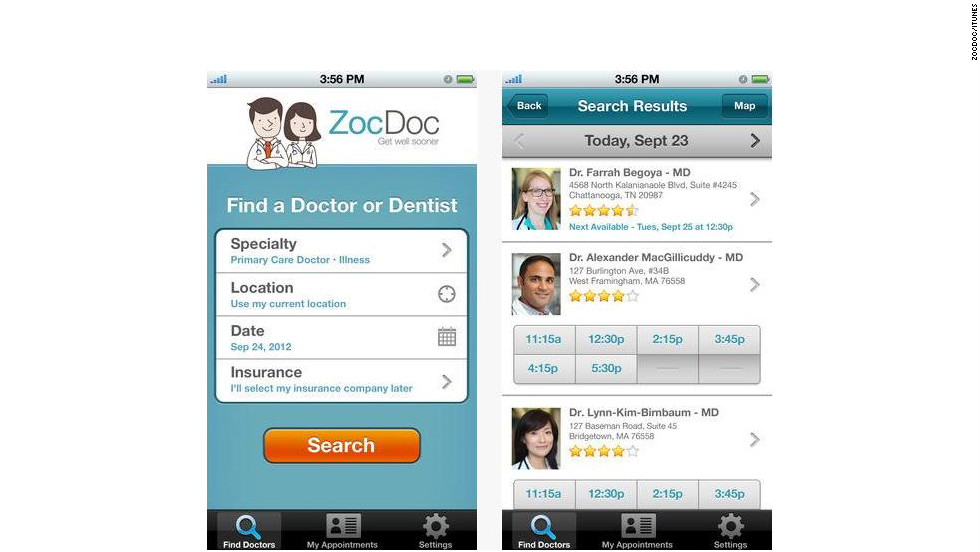 "<a href=""http://zocdoc.com"" target=""_blank"">ZocDoc</a>: (free, zocdoc.com) ZocDoc's pitch is simple: letting users book doctor appointments quickly. Just enter your zip code and insurance information, click through available doctors and book. (iPhone, iPod Touch, iPad, Android)"