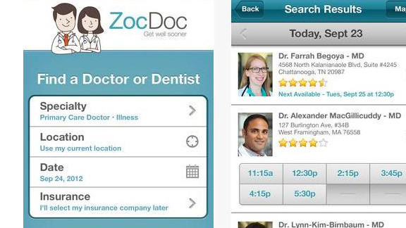 ZocDoc: (free, zocdoc.com) ZocDoc's pitch is simple: letting users book doctor appointments quickly. Just enter your zip code and insurance information, click through available doctors and book. (iPhone, iPod Touch, iPad, Android)