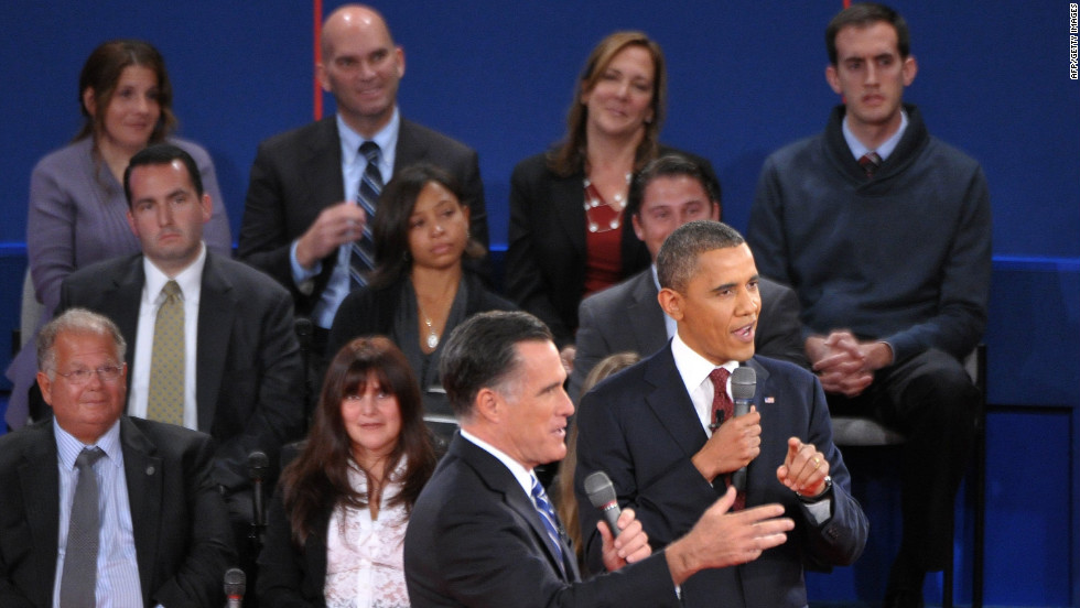 U.S. President Barack Obama and Republican presidential candidate Mitt Romney both speak at the same time.