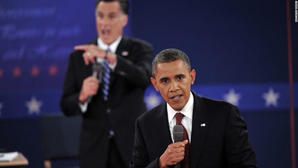Romney and President Obama interrupt each other during the debate.