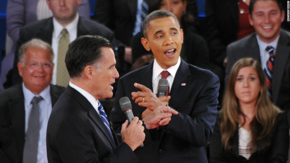 U.S. President Barack Obama and Republican presidential candidate Mitt Romney speak over each other.