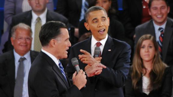 U.S. President Barack Obama and Republican presidential candidate Mitt Romney speak over each other.