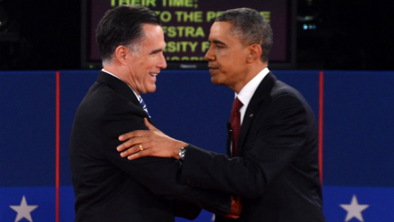 Republican presidential candidate Mitt Romney and U.S. President Barack Obama shake hands following the second presidential debate at Hofstra University in Hempstead, New York, on Tuesday, October 16, moderated by CNN
