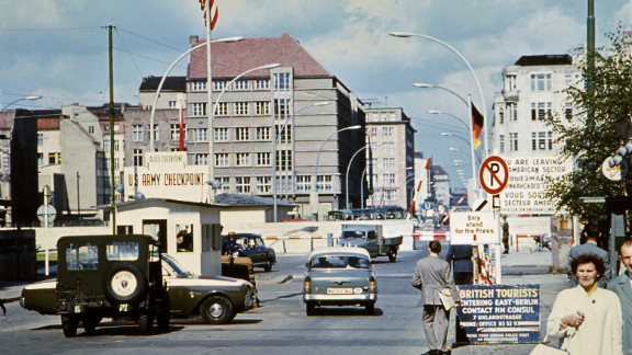 Checkpoint Charlie (pictured in 1968) was the most famous checkpoint along the Berlin Wall. Pleitgen's father worked in East Berlin, and Pleitgen says he travelled through the wall every day to go to kindergarten.