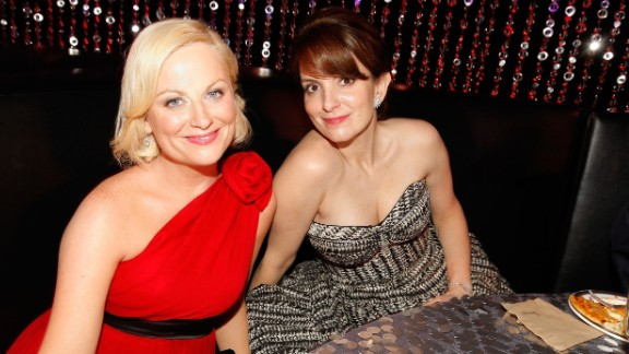 Fey and Poehler attend a Golden Globes afterparty in January 2010.