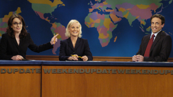 "Fey and Poehler co-anchored the ""Weekend Update"" segment of ""Saturday Night Live"" until 2006, when Fey left to focus on her NBC sitcom ""30 Rock."" Fey and Poehler were reunited, along with Poehler's new ""Weekend Update"" co-host Seth Meyers, when Fey hosted ""SNL"" in February 2008."