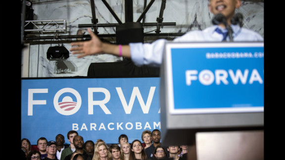 Supporters of Obama listen to him speak during a rally at Cornell College in Mt. Vernon, Iowa, on Wednesday.