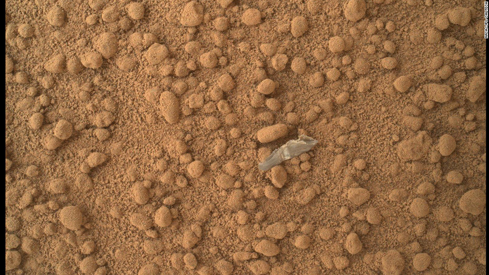 This image shows what the rover team has determined to be a piece of debris from the spacecraft, possibly shed during the landing.