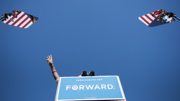 Obama speaks during a rally at Veterans Memorial Park in Manchester, New Hampshire, on Thursday.