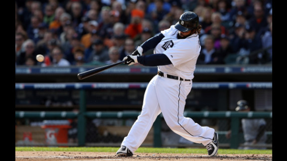 Prince Fielder of the Detroit Tigers hits a single in the first inning against the New York Yankees.
